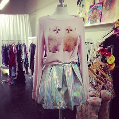 Holographic pleated skirt and cat sweater  Put it all over my body