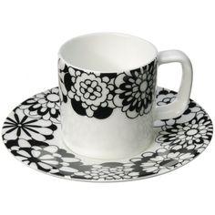 Missoni Home Bianco Nero Coffee Cup & Saucer - 100cc ($86) found on Polyvore