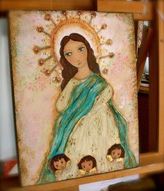 Immaculate Conception with Angels   Original by FlorLarios on Etsy