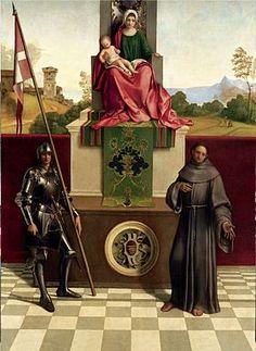 Giorgione, Pala di Castelfranco, huile sur toile (200 × 152 cm), vers 1503-1504, conservée en son lieu d'origine, le Dôme de Castelfranco Veneto.