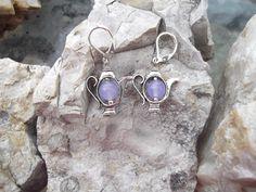Purple Alexandrite Teapot Earrings