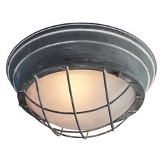 Vintage Wall Light / Ceiling Light, Ø 34 cm, Industrial Used Look 2 x Max. 60 W, Metal/Glass, Grey Concrete Semi Flush Ceiling Lights, Ceiling Spotlights, Flush Mount Lighting, Dar Lighting, Ceiling Lamps, Light Fittings, Light Fixtures, Lustre Vintage, Vintage Wall Lights