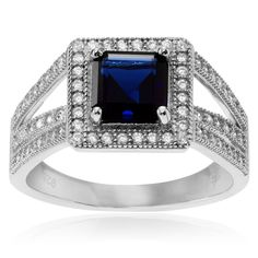 Journee Collection Sterling Silver Cubic Zirconia Square Halo Ring (Green- 10), Women's, White