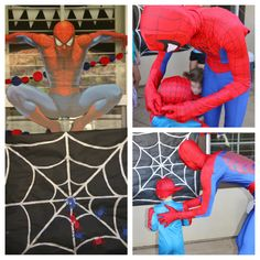 Awesome Spider-Man party ideas. Pin the spider on the web and Spider-Man pinata. Also, if I can find someone willing to dress up and act as Spider-Man for the party, that would be AWESOME!!!