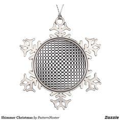 'Shimmer' Christmas Snowflake Pewter Christmas Ornament #gifts #ornament #christmasdecor #contemporary #blackandwhite #zazzle