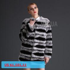 New Women Real Rex Rabbit Fur Coat Imitated Chinchilla Parka Thick Warm Striped Outwear Winter Full Pelt Long Jacket AU00633