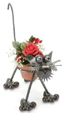 Funny looking kitty cat sculpture  Animal Planters | Home