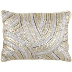 Pier One Metallic Sequin Waves Pillow found on Polyvore featuring polyvore, home, home decor, throw pillows, pillows, pier 1 imports, round throw pillows, round accent pillows, gold and silver home decor and metallic home decor