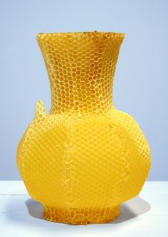 Vase made by bees. and Studio Libertiny at droog. Eco Design, Growth And Decay, Living Colors, I Love Bees, Honeycomb Pattern, Save The Bees, Bees Knees, Shades Of Yellow, Mellow Yellow