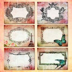 Digital Collage Sheet, Vintage Frame Printable images for gift ...