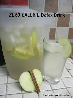 Detox Apple Cinnamon Water- BOOST Your METABOLISM Naturally with this ZERO CALORIE Detox Drink: Day Spa Apple Cinnamon Water 0 Calories. Put down the diet sodas and crystal light and try this out for a week. You will drop weight and have TONS OF ENERGY!