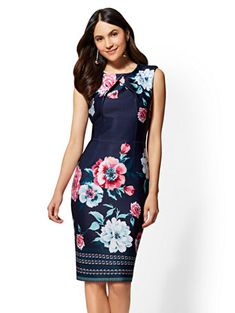 Shop 7th Avenue - Navy Printed Crossover Sheath Dress. Find your perfect size online at the best price at New York & Company.