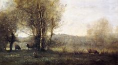 Pond with Three Cows (Souvenir of Ville d'Avray), 1855-1860 Camille Corot