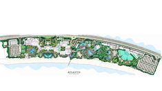 Atlantis The Palm Edsa Dubai Master Planning Middle East Resort Uae. hotel design planning and development. Landscape Plans, Landscape Design, Landscape Architecture, Wilderness At The Smokies, Resort Plan, Hotel Logo, Logo Design, Design Design, Beach Resorts