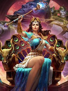 Hera-Kind with a temper that rivals Zeus Hera Goddess, Greek Goddess Art, Greek Mythology Art, Greek Gods And Goddesses, Roman Mythology, Aphrodite, Fantasy Art Women, Fantasy Girl, Zeus Et Hera