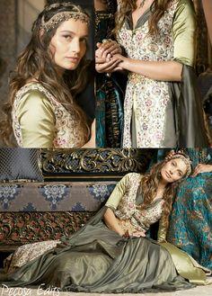 Muhtesem yuzyil kosem, magnificent century kosem, fahryia sultan, green flower dress