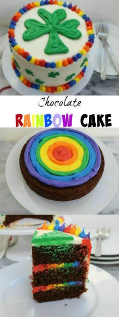 A Chocolate Rainbow Cake is the perfect cake to celebrate St. Patrick's Day or any day.