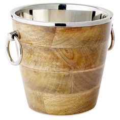 """Check out this item at One Kings Lane! 9"""" Metal Rimmed Ice Bucket"""