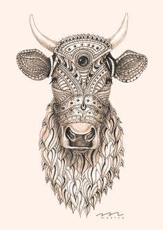 #cow #drawing #ink #new #maarta