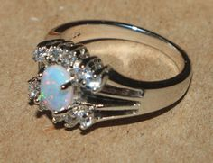 white fire opal Cz ring gemstone silver jewelry Sz 6.75 cocktail engagement B453 #Cocktail