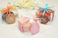 Pink Doily Shower Favors Pink French Macaron por IndayaniBakedGoods