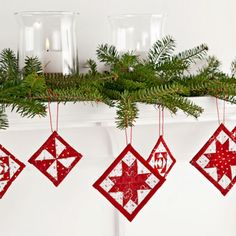 Use up the tiniest bits of fabric in a trio of two-color ornaments. Don't be intimidated by their diminutive size—we've got the patterns for foundation piecing here.