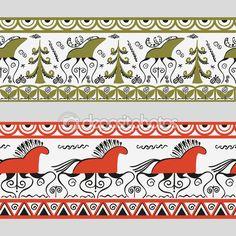 Бесшовное украшение в стиле Мезень. векторная иллюстрация — стоковая иллюстрация…