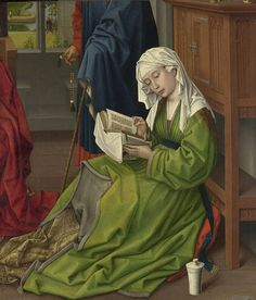 Rogier van der Weyden, The Magdalen Reading, 62.2 cm × 54.4 cm (24.5 in × 21.4 in). c. 1435–1438. Oil on mahogany, transferred from another panel. National Gallery, London.