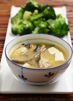 Double Mushroom Miso Soup. Ready in  15 minutes, and guess what? Each large serving is only 38 calories. 38. With 4g of protein. I want to make this right now. This would be delicious in a thermos to take to work for lunch.