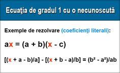 Rezolvarea ecuaţiei de gradul întâi cu o necunoscută Pentru a rezolva o ecuaţie de gradul întâi cu o necunoscută, procedăm astfel: 1. Dacă ecuaţia cuprinde numitori, îi eliminăm, înmulţind ambii membri cu c.m.m.m.c. al numitorilor. 2. Dacă ecuaţia are paranteze, le desfacem. 3. ... Education, Onderwijs, Learning
