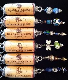 Custom Black Stallion Wine Cork Key Chains available at the winery