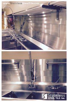 Stainless Steel Tile Backsplash | Modern Metal Tiles | 3D Diamond Subway Tile Pattern | Commercial and Restaurant Kitchen Design | Shop Stainless Steel Tile Inc. for your Home or Restaurant Kitchen