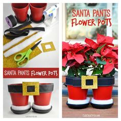 """What song does this flower pots remind you? Would it be """"Santa Claus is coming to town""""? This Santa Pants Poinsettia Flower Pot is inspired by Santa Pant Basket sold in Michaels. It is very easy to make with some readily available materials. You can use it to decorate your …"""