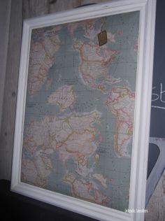 Knutsels van Jolanda. prikbord, landkaart stof