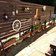 女性で、3LDK、家族住まいの庭DIY/ウッドフェンスDIY/ウッドデッキDIY /レンガ道DIY/レンガ敷き…などについてのインテリア実例を紹介。「セリアでたくさん買ってきたものをウッドフェンスに飾りました♡少しずつイメージに近づいてきました(^^)♪♪」(この写真は 2015-06-06 15:03:50 に共有されました)