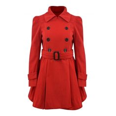 Women's Fashion Double Breasted Woolen Trench Coat With Belt (57 BAM) ❤ liked on Polyvore featuring outerwear, coats, woolen coat, double breasted coat, red double breasted coat, wool coat and wool trench coat