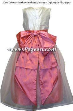 40e7ec88b98 Sunset and New Ivory Ballerina style Flower Girl Dresses Style 394 Coral Flower  Girl Dresses