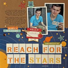 #papercrafting #scrapbook #layout - Reach For The Stars layout featuring Jillibean Soup Alphabet Soup II