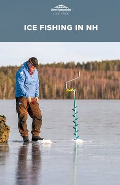 From what to pack to where to fish, a local expert shares insider tips on ice fishing in New Hampshire. Ice Fishing, Trout Fishing, Fishing Guide, White Mountains, Bike Rack, Bed Plans, What To Pack, Camper Trailers, Bunk Bed