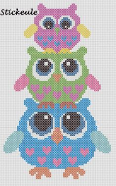 Owls Cross Hama perler pattern