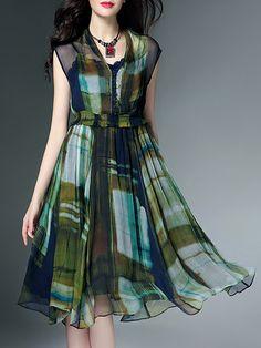 Shop Midi Dresses - Swing Geometric Silk Sleeveless Vintage Midi Dress With Cami online. Discover unique designers fashion at StyleWe.com.