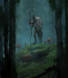 """An illustration for the short story """"Forest of the Druids: Cernunnos' Realm"""" published on the new DEGENESIS website, by SIXMOREVODKA. Featured is Cernunnos: the horned god, an Amsumo who has taken the roll of caretaker and protector for an Fantasy Forest, Forest Art, Dark Fantasy Art, Fantasy Artwork, Magical Forest, Fantasy Paintings, Forest Drawing, Forest Painting, Fantasy Art Landscapes"""
