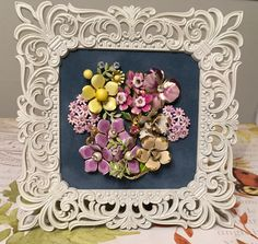 Vintage Jewelry Floral Art Collage Picture -- Pink and purple by RevivalVtgJewelsArt on Etsy