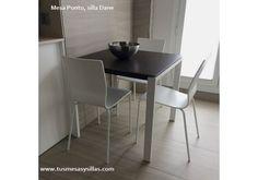 Mesa de cocina moderna, extensible, con cajón y esquinas redondeadas ...