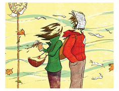 Windy Bus Stop. Original illustration of two by EricPiatkowskiArt