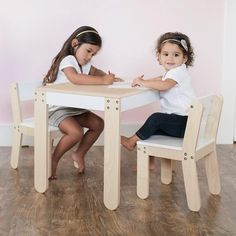 This Toddler Table and Chairs in White designed by P'kolino to be a Playful and practical table set for even the most creative toddler. It comes with two comfy stylish chairs that are perfectly sized for children. Pkolino modern table and chairs for kids Kids Table Chair Set, Toddler Table And Chairs, Kid Table, Modern Table And Chairs, Stylish Chairs, Toddler Play Table, Toddler Toys, Toddler Bed, Toddler Sofa Chair