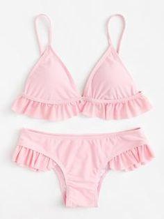 Ruffle Hem Bikini Set One Piece Swimwear, Bikini Swimwear, Bikinis Tumblr, Style Surfer, Cute Bathing Suits, Cute Swimsuits, Beachwear For Women, Women's Summer Fashion, Winter Fashion