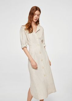 Linen fabric Round neck Button front Side slits