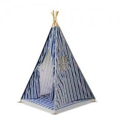 4 Poles Childs Teepee Kids Play Tent Canvas Indoor Outdoor Tipi Playhouse Blue & White