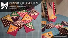 [Monster Bookmarks] these are done in just minutes.try yourself and leave a photo! Sewing Projects For Beginners, Diy Craft Projects, Sewing Tutorials, Diy And Crafts, Crafts For Kids, Monster Bookmark, Quilts Vintage, Vintage Diy, Handmade Tags